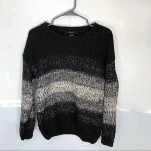 Forever 21 Striped Black White Knit Crew Sweater